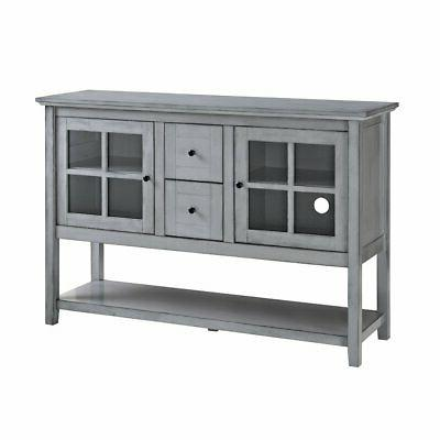 "WE Furniture 52"" Wood Console Table Buffet TV Stand - Antiqu"