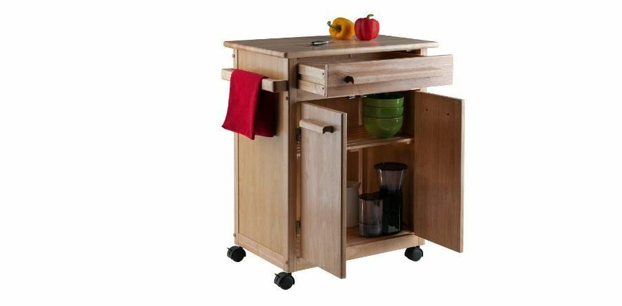 wood finish mobile kitchen storage