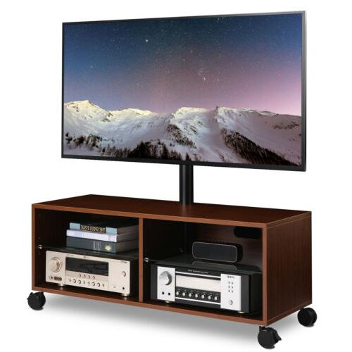 wood tv entertainment stand center with swivel