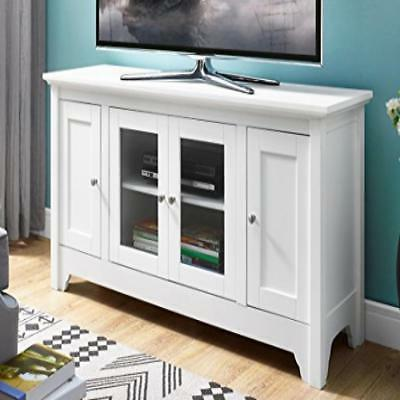 wood tv media stand storage