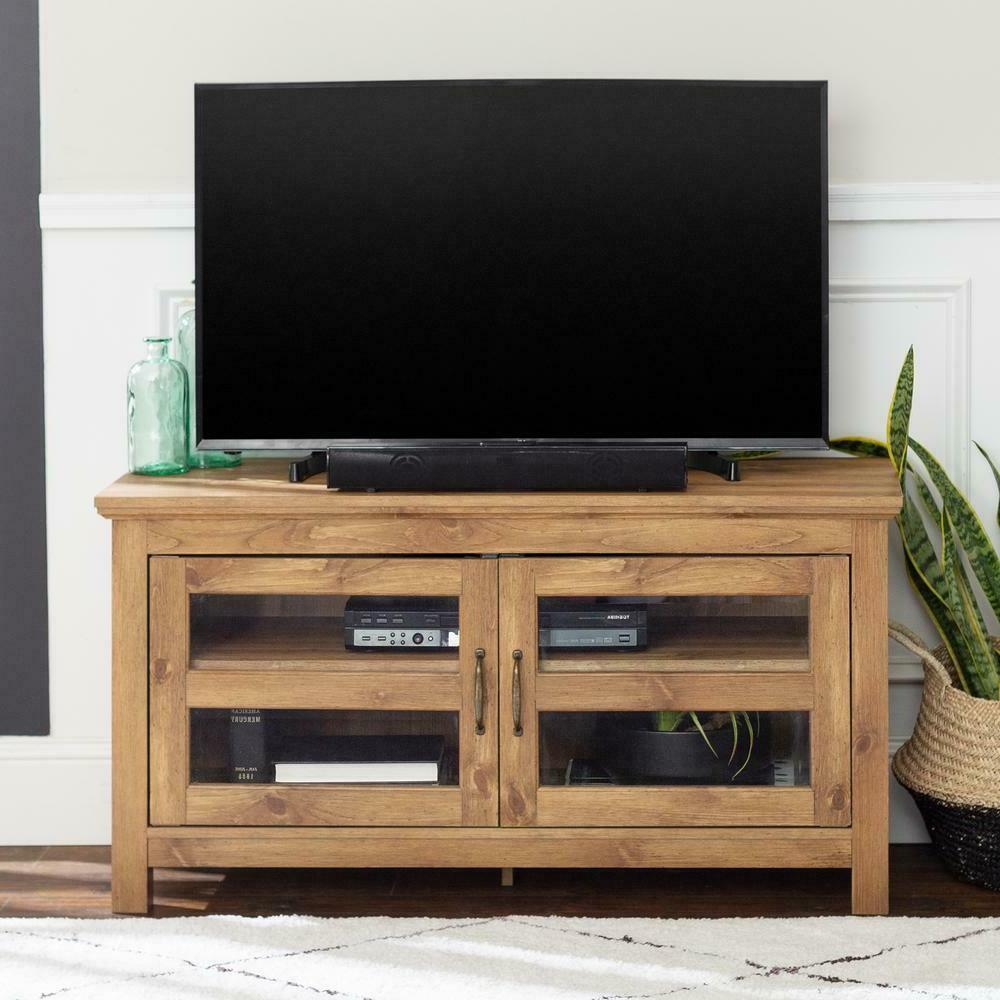 "WE Furniture 44"" Wood TV Media Stand Storage Console - Barnw"