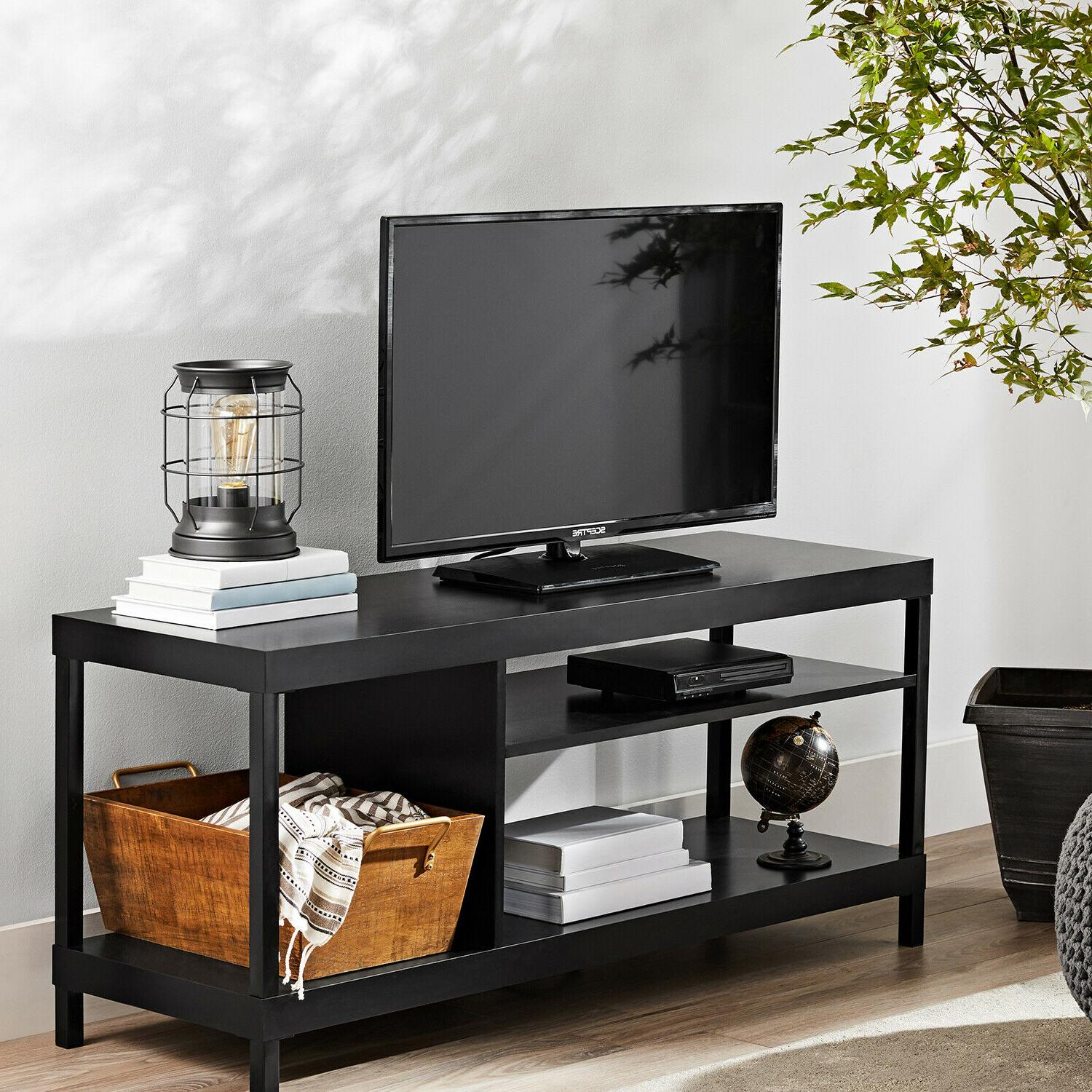 "Wood TV Stand 45"" Entertainment Center Media Console Storage"