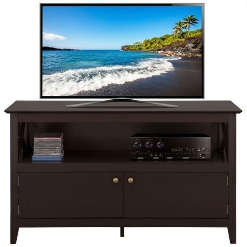 Wood TV Stand, 2-Doors Center, Brown