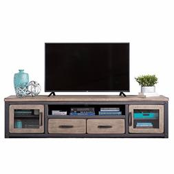 Modern Rustic Distressed Brown Gray Wood TV Stand Entertainm