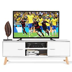 Tangkula TV Stand Modern Wood Multipurpose Organizer Enterta
