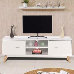Modern White TV Stand/Entertainment Center with Cabinets and