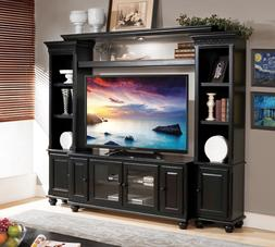 New Generation Rubbed Black Finish Entertainment Center