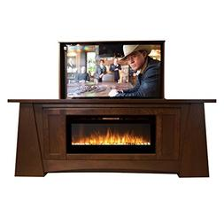 Pop Up TV Lift - Handcrafted Aspen Fireplace TV Lift Cabinet