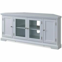 "Leick Riley Holliday 57"" Corner TV Stand in White"