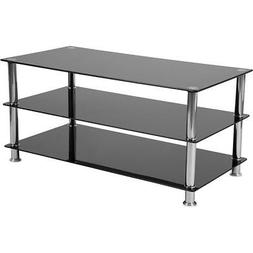 Flash Furniture Riverside Collection Black Glass TV Stand wi