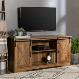 "Rustic TV Stand 65"" Barn Door Wood Farmhouse Furniture Enter"