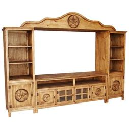 Rustic TV Stand Star Entertainment Center Solid Wood Antique