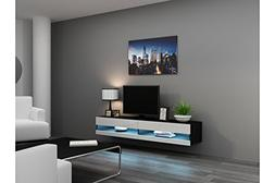 Concept Muebles 80 Inch Seattle High Gloss LED TV Stand - Bl