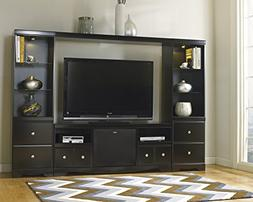 Shay Contemporary Wood Black 5 Pieces Entertainment Set with