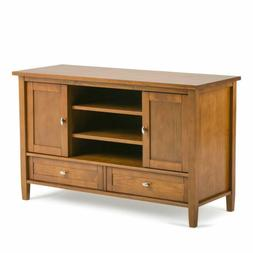 Solid Wood TV Stand Entertainment Center Rustic Golden Brown