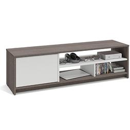 "Bestar Small Space 53.5"" TV Stand in Bark Gray and White"