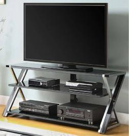 Tempered Glass TV Stand 65 Inch Flat Panel Media Storage Ent