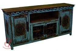 Turquoise Large Durango TV Stand Console With Iron Work Real