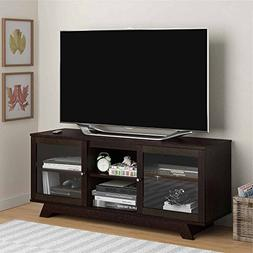 "TV Stand for TVs up to 55"" with Two Slide Open and Closed Gl"
