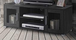 Hodedah TV Stand with Two Transparent Doors for Cabinet Stor
