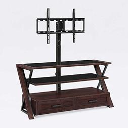 """54"""" TV Stand with Cherry Finish Swivel Mount Pans Side to Si"""