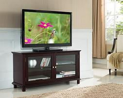 Kings Brand Furniture TV Stand with Glass Doors, Dark Cherry