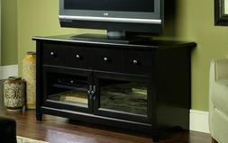 Sauder TV Stand Black Modern Wood Console Large Entertainmen