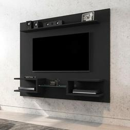 """TV Stand Black Wood 65"""" Floating Wall Mounted Media Console"""