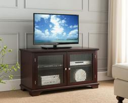 Kings Brand TV Stand Entertainment Center With Frosted Glass