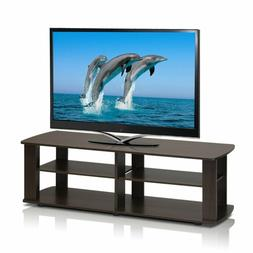 TV Stand Entertainment Center Media Console Dark Brown Flat