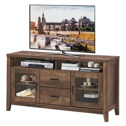 """TV Stand Tall Entertainment Center Hold up to 58"""" TV w/ Glas"""