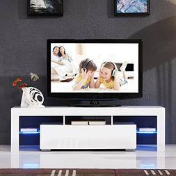 SUNCOO LED TV Stand Media Console Cabinet with 2 Drawers Liv