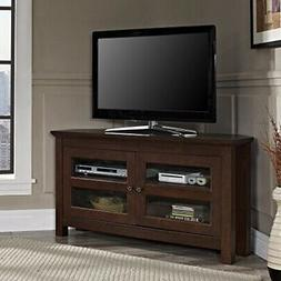 TV Stand Console Wooden Sturdy Solid Design With Corners Up