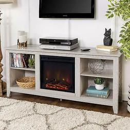 Walker Edison W58FP18WW Fireplace TV Stand in White Finish N