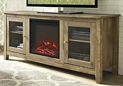 """WE Furniture 58"""" Wood Media TV Stand Console with Fireplace"""