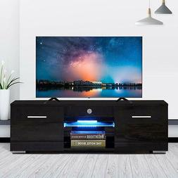 Wood High Gloss LED TV Stand Entertainment Center Console Ca
