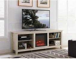 WE Furniture AZ70FP18WO Fireplace TV Stand, White Oak