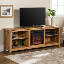 """WE Furniture 70"""" Wood Media TV Stand Console with Fireplace"""