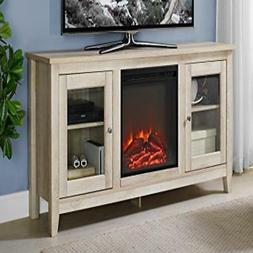 WE Furniture AZ58FP4DWWO Fireplace TV Stand, White Oak