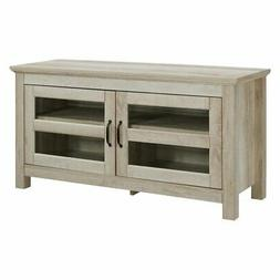 "WE Furniture 44"" Wood TV Media Stand Storage Console - White"