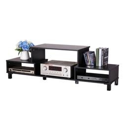 Wood TV Stand Console Table for Flat Screen TVs Black Home E