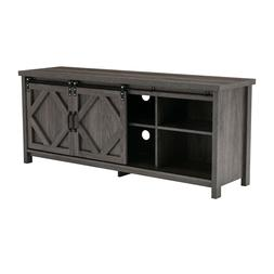 Wood TV Stand Farmhouse Sliding Barn Door Media Console TV E