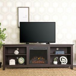 "WE Furniture Wood TV Stand with Fireplace, 70"", Espresso"